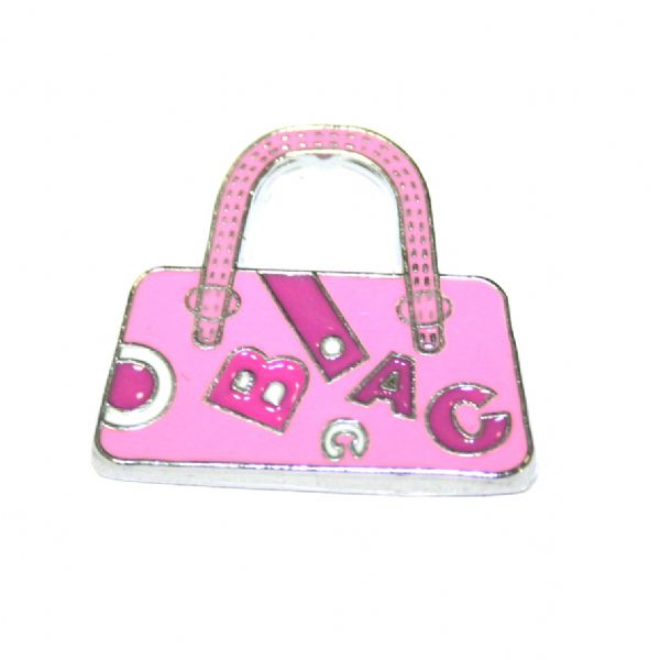 1pce x 24*22mm Rhodium plated pink handbag with letters enamel charm - SD03 - CHE1051